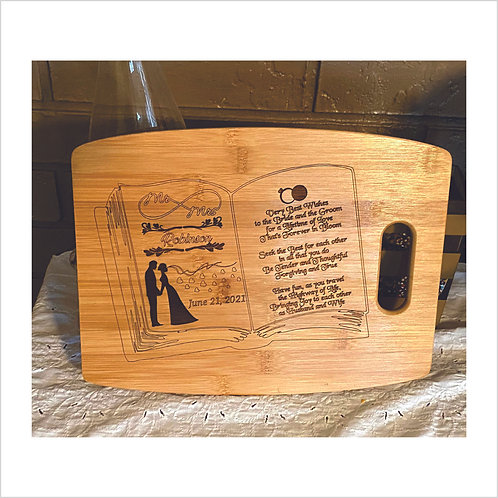 Wedding Book Personalized Arched Cutting Board Bamboo Laser Engraved