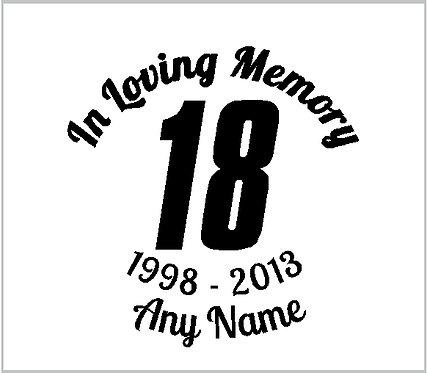 Memorial Decals Racing Number NASCAR Memorial Decal Window Sticker