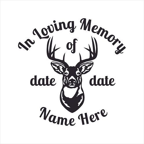 Memorial Deer Head Hunting Hunter Hunt Decal Window Sticker