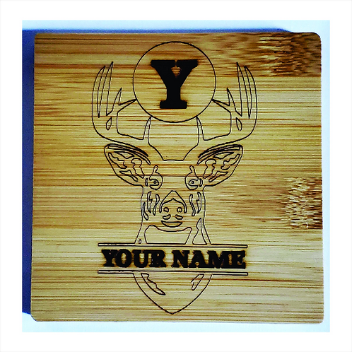 Coaster Set: Deer Head Personalized with Name Initial