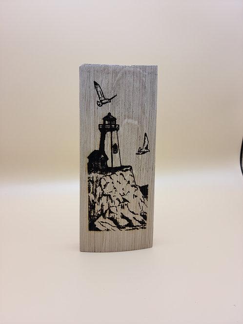 Laser Engraved Oak Wine Barrel Stave w/Lighthouse