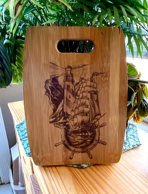 Cutting Board Bamboo Laser Engraved Lighthouse and Sailing Ship