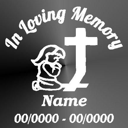 Memorial Decals Girl Praying Cross Memorial Decal Window Sticker