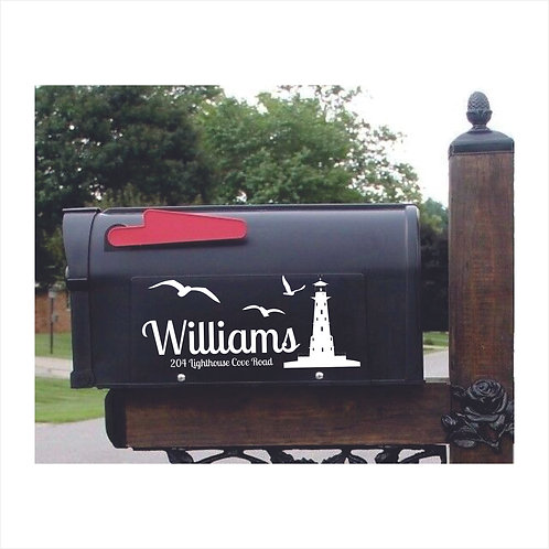 Mail Box Decal  Lighthouse Personalized With Name, Address
