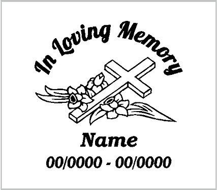 Memorial Decals Floral Cross Memorial Decal Window Sticker
