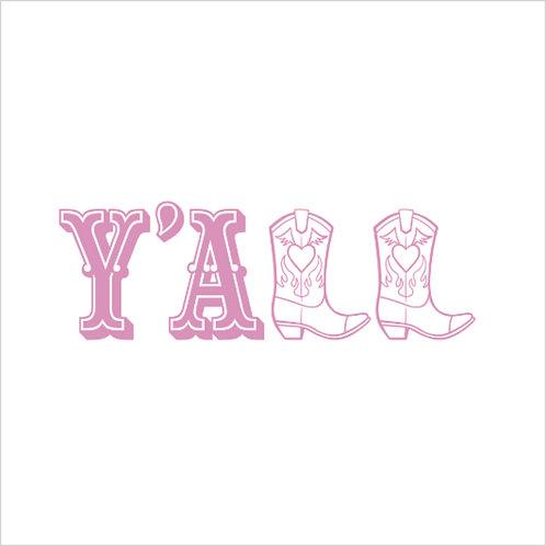 Cowgirl Y'ALL Country Western Cowboy Boot Decal Window Sticker