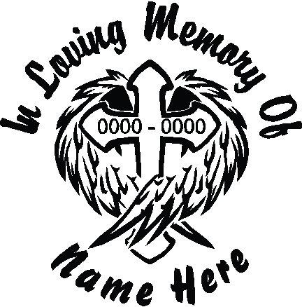 Memorial Cross Wings Decal Sticker Memorial Decal Window Sticker