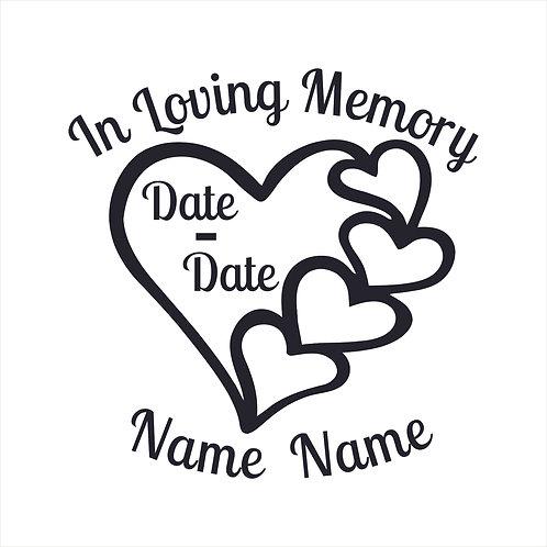 Memorial Hearts Heart 5 Hearts Valentine Decal Window Sticker