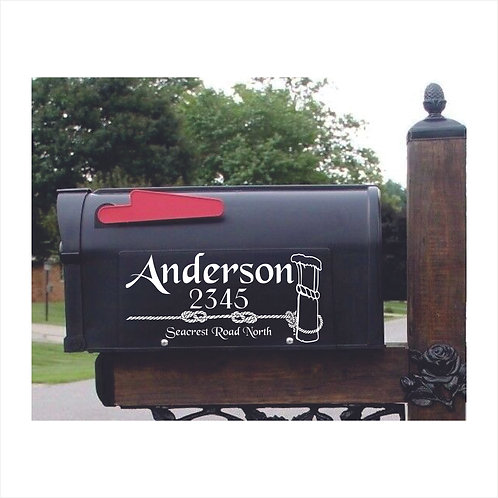Mail Box Decal With Bollard-Rope Bell  Personalized With Name & Add