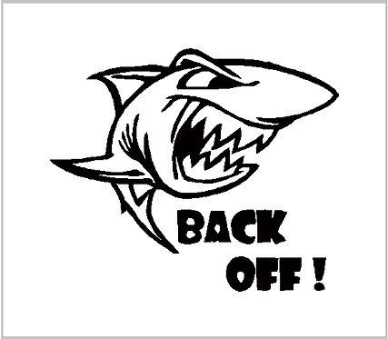 Shark Decal Vinyl Sticker Shark Back Off Decal Window Sticker