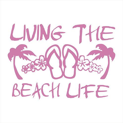 Living the Beach Life Decal Window Sticker Flip Flops