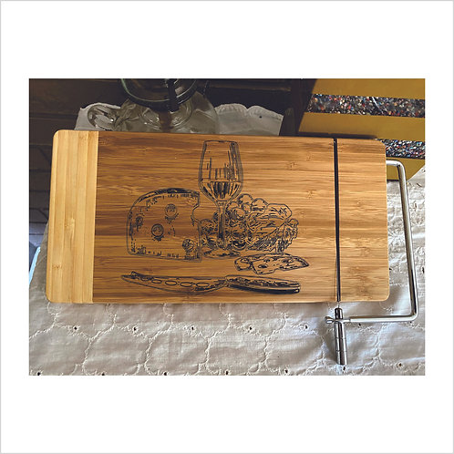 """Cutting Board with Metal Cheese Cutter 12"""" x 6""""  Laser Engraved"""