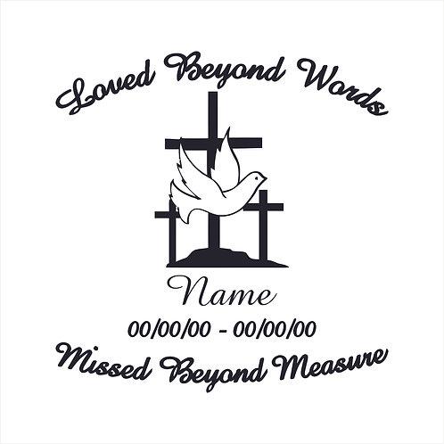 Memorial Dove Cross Crosses RIP Vinyl Decal Window Sticker