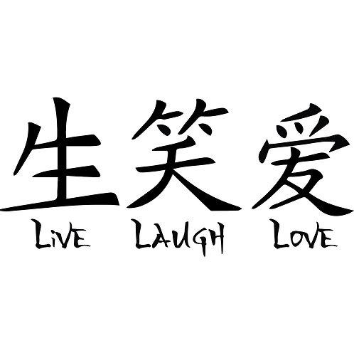 Kanji Live Laugh Love Decal Window Sticker