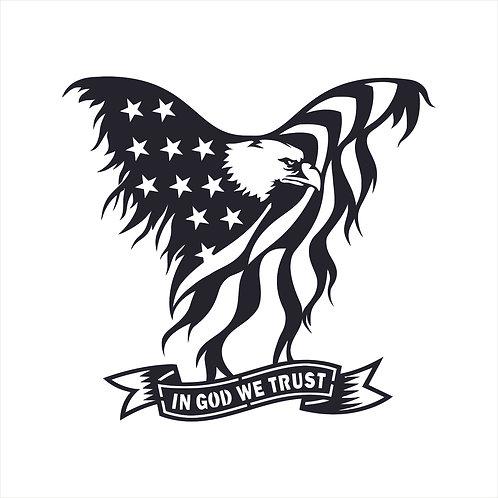 Patriotic American Flag Eagle In God We Trust Decal Window Stick