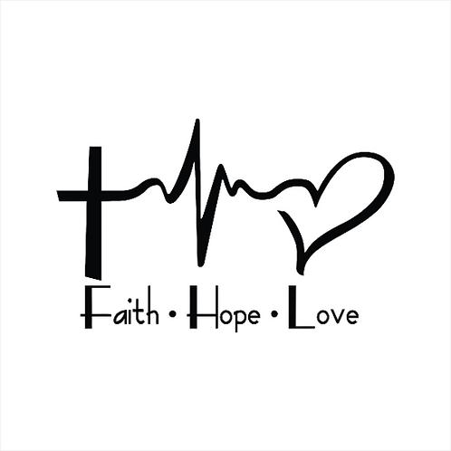 Faith Hope Love Heart Cross Heart Beat Believe Vinyl Decal Window Sticker