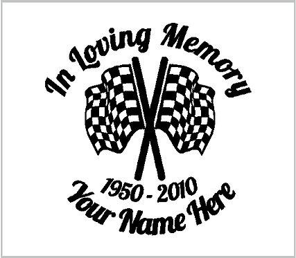 Memorial Decals Racing Flags NASCAR Memorial Decal Window Sticker