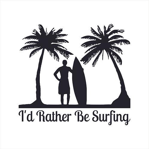 Surf Surfing Surfer Surf Board Palm Tree Beach Decal Window Sticker