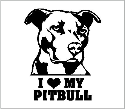 Pitbull Dog Heart Love Vinyl Decal Vinyl Window Sticker