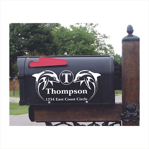 Mail Box Decal Dolphins Personalized