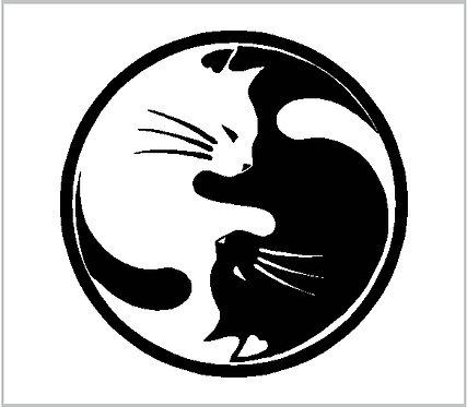 Cat Kitten Kitty Ying Yang Decal Window Sticker