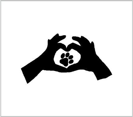 Dog Cat Heart Pet Love Decal Vinyl Sticker Pet Paw Heart Decal Window Sticker