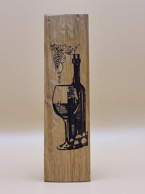 Laser Engraved Oak Wine Barrel Stave Wine Bottle Design