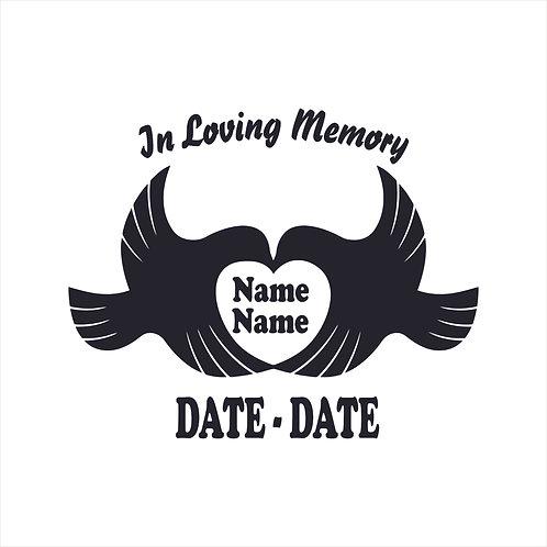 Memorial Dove Bird Heart Vinyl Decal Window Sticker