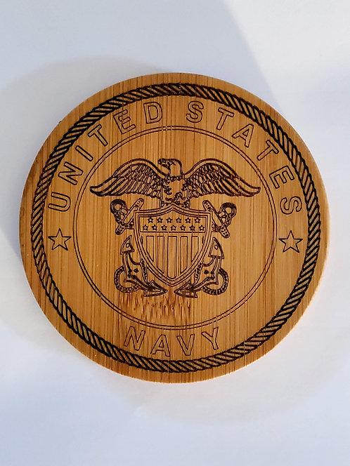Coaster Set of 4: Navy, Army, Marine Corps, Air Force, Coast Guard