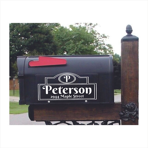 Mail Box Decal Personalized With Name, Initial and address