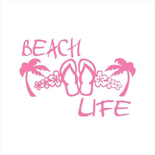 Beach Life Flip Flops Life Vinyl Decal Window Sticker