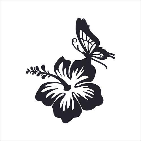 Hibiscus Butterfly Flower Vinyl Decal Window Sticker