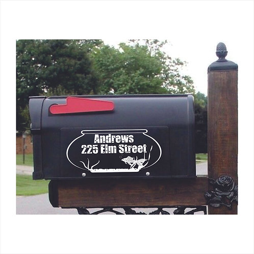 Mail Box Decal With Fish Bowl Personalized With Name & Address