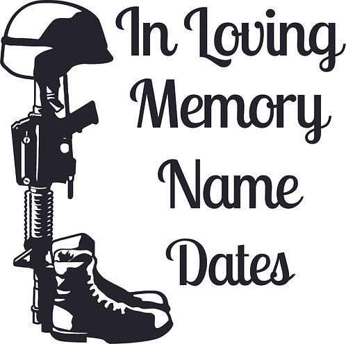 Memorial Helmet Rifle Boots Military RIP Soldier Decal Window Sticker
