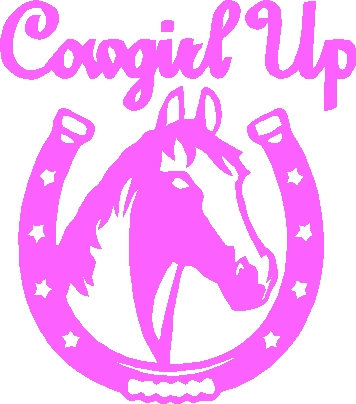 Cowgirl Up Horse Horseshoe Country Western Cowboy Decal
