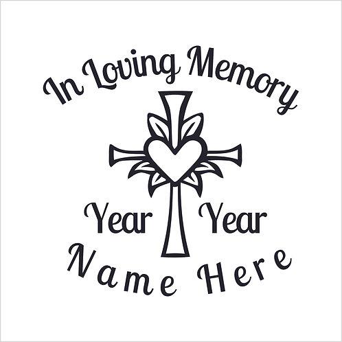 Memorial Decals Heart in Cross Memorial Decal Window Sticker