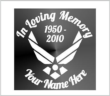 Memorial Air Force USAF Vinyl Decal Decal Window Sticker