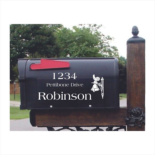 Mail Box Decal With Rooster & Bell  Personalized With Name & Address