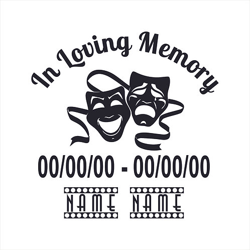 Memorial Decal Theater Masks Theatre Masks Theatrical Memorial Window Sticker
