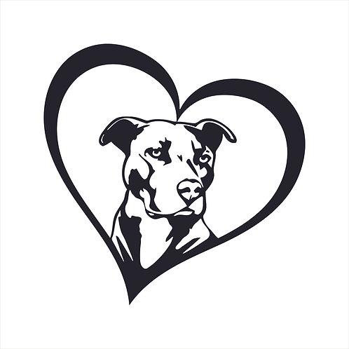Pitbull Dog Heart Love Vinyl Decal Window Sticker