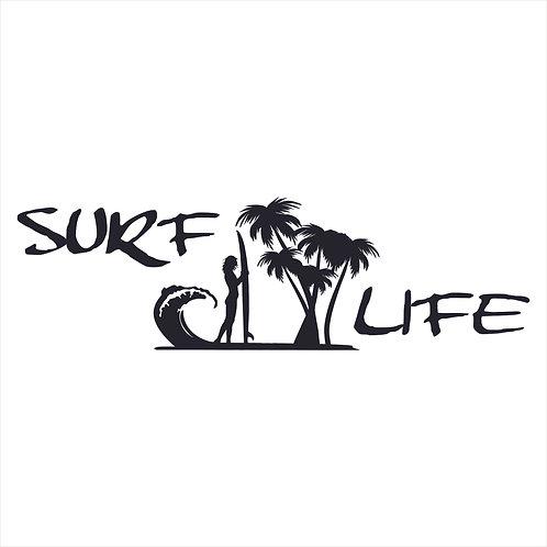 Surf Life Surfer Girl Endless Summer Surf Surfing Decal Window Sticker