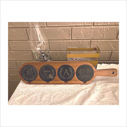 Acacia Wood/Slate Drink Serving Board Engraved Personalized Coasters