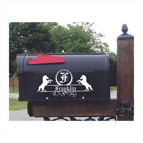 Mail Box Decal Personalized With Name, Initial in Old English