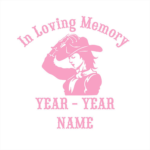 Cowgirl Memorial Decal Sticker Country Girl Cowboy RIP
