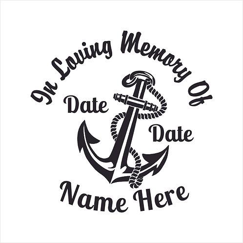 Memorial Anchor Boat Sail Sailor Sailing Sea Decal Window Sticker