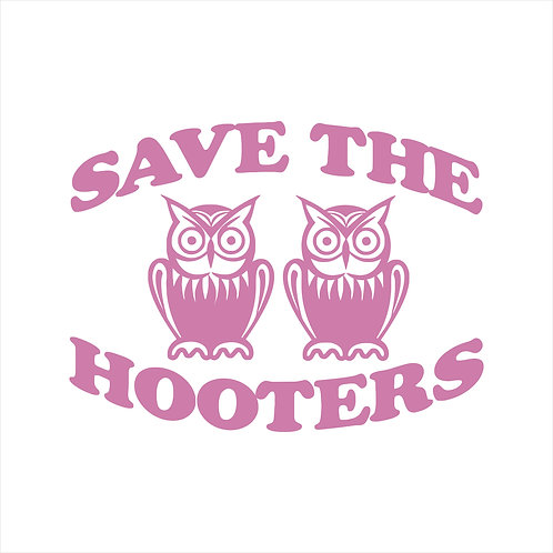 Save the Hooters Breast Cancer Awareness Owls Vinyl Decal Window Sticker