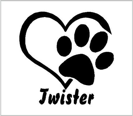 Memorial Dog Heart Paw Print Memorial Pet Paw Window Sticker