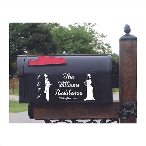 Mail Box Decal With Lady-Gentleman Personalized With Name &a