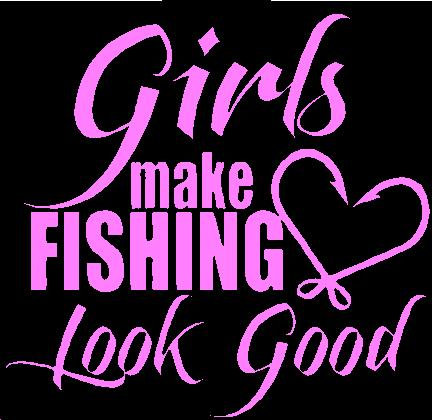 Girls Fish Fishing Rod Reel Vinyl Decal Window Sticker