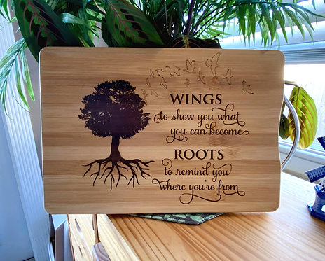 Cutting Board Bamboo Laser Engraved Roots Saying